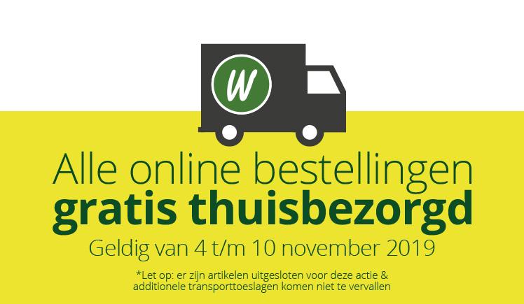 Alle online bestellingen gratis thuisbezorgd | Geldig van 4 t/m 10 november 2019 | *Let op: er zijn artikelen uitgesloten voor deze actie & additionele transporttoeslagen komen niet te vervallen
