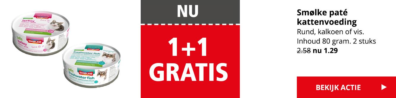 NU 1+1 GRATIS | Smølke paté kattenvoeding | 2 stuks van 2.58 nu 1.29 | Bekijk actie >